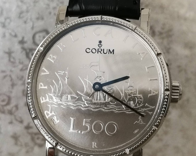 "CORUM watch coin watch tribute to ""LIRA"" limited edition 499 pcs."