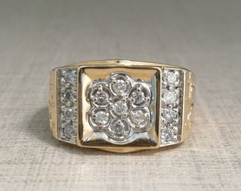 Vintage 14kt gold ring with natural diamonds, brilliant cut, Unisex.