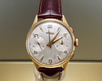 Rare watch NICOLET WATCH vintage chronograph in 18kt solid pink gold. Manual Mechanic Valjoux 22