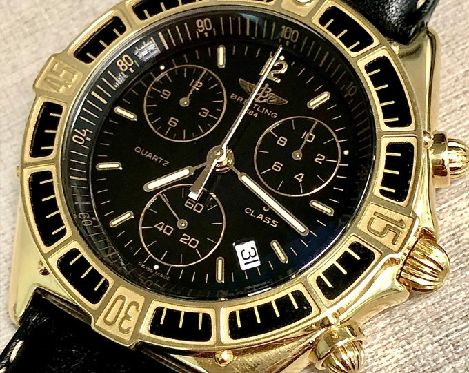Watch Breitling J CLASS Chronomat Chronograph 18kt gold Quartz