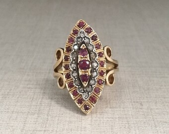 Vintage 14kt gold Diamond antique cut and ruby ring