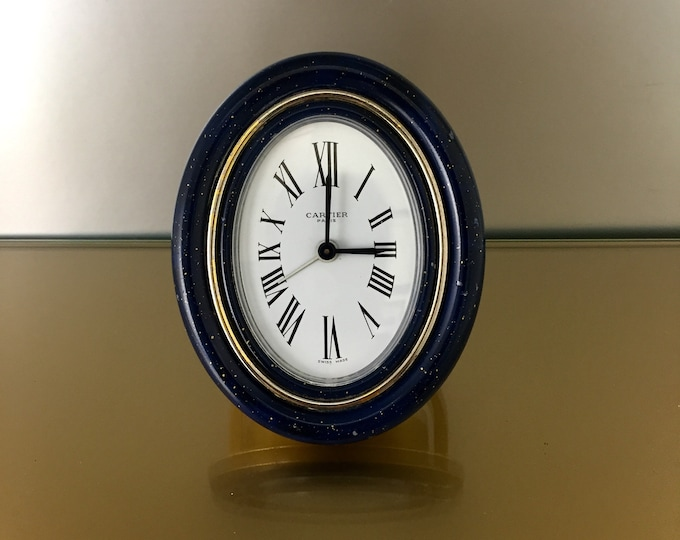 Rare Cartier clock vintage mechanical movement and frame in lapis lazuli