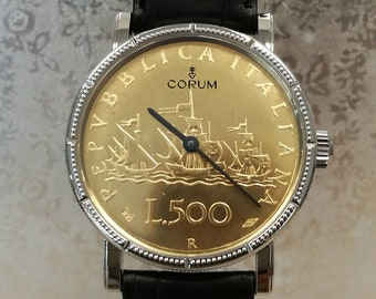 "CORUM watch coin watch tribute to ""LIRA"" limited edition 249 pz."