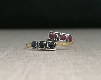 Vintage 18kt gold ring and silver beacons with blue sapphires and rubies