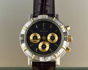 Watch LUCIEN Rochat Chronograph hand-winding Lemana 1873 steel and Gold case 90 years with box and documents