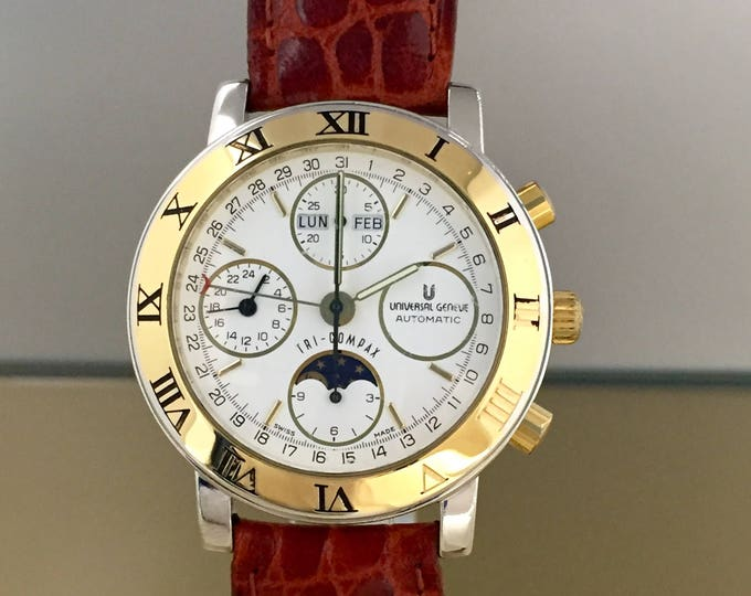 UNIVERSAL GENEVE Tri-compax Watch chronograph full moon steel and gold automatic calendar, with documents