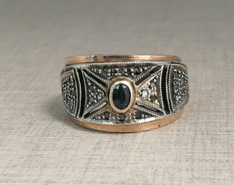 Vintage 14kt gold ring and silver with sapphire and antique cut diamonds
