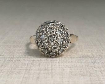 Vintage 14kt gold antique cut diamond ring