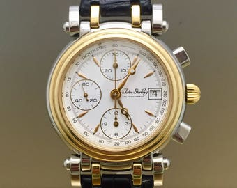 Watch JOHN STERLING Topsail automatic chronograph steel and gold 18kt vintage year 90