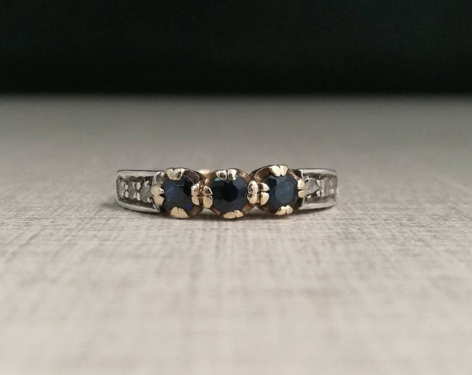 Vintage 12kt gold ring with blue sapphires and antique cut diamonds