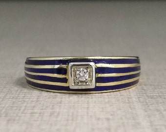 Vintage ring in 18kt yellow gold, with enamel trim and natural diamond brilliant cut