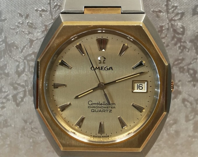 OMEGA watch constellation chronometer for vintage men steel and gold