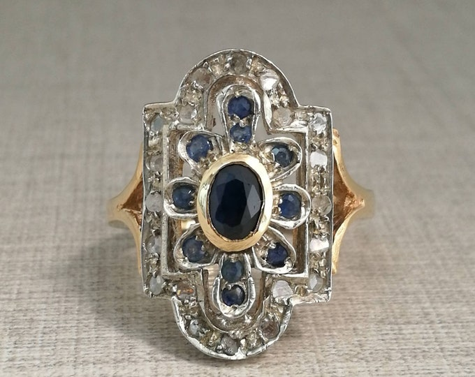 Vintage 12kt gold ring with natural sapphires and diamonds antique cut