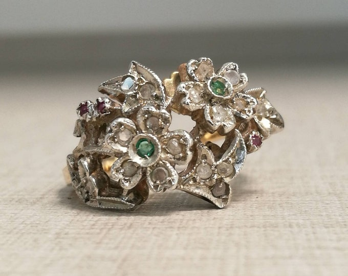Vintage 12kt gold Ring and silver trim with ruby emeralds and antique cut diamonds