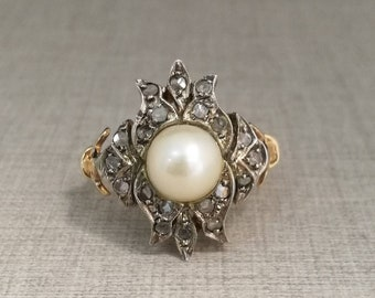 Vintage ring in 14kt yellow gold and silver with natural diamonds antique cut and pearl