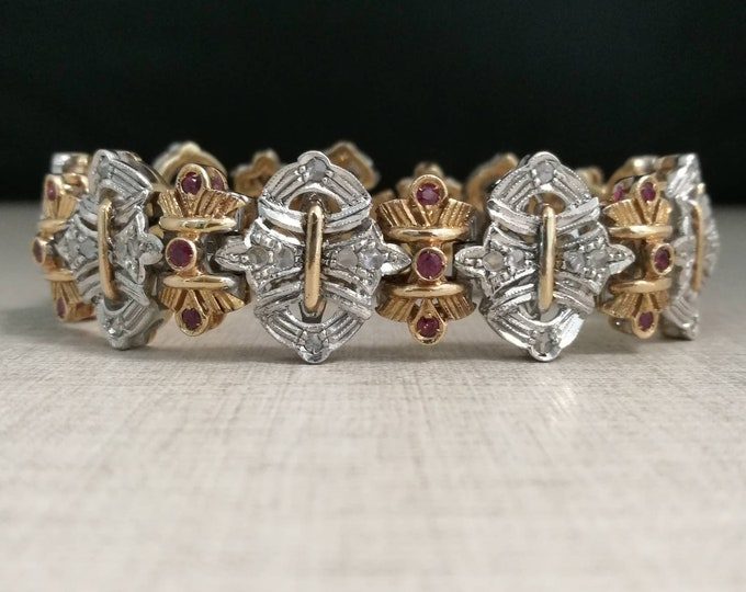 Rare vintage bracelet in 12kt gold and silver 800 with rubies and natural diamonds antique cut