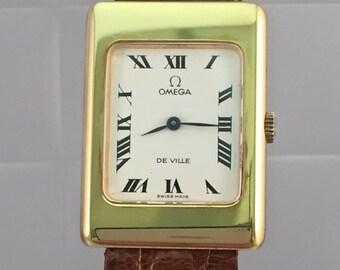 vintage OMEGA De Ville watch rare man massive gold manual wind 18 kt