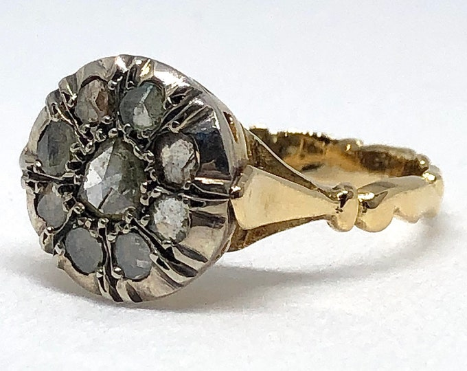 Vintage ring in 18kt gold and silver with natural diamonds antique cut