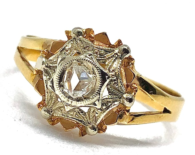 Vintage 18kt gold ring with natural diamond antique cut