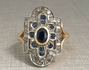 Vintage 12kt gold ring with sapphires and natural diamonds antique cut