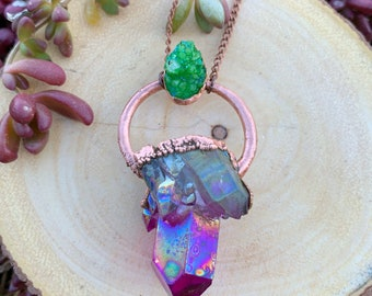Multi flash Rainbow Aura Quartz with Green Dyed Aura Quartz Cabochon Necklace with Copper Chain