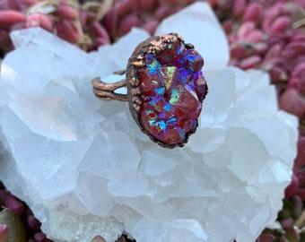 Majenta Dyed Aura Quartz Ring—Copper Electroformed Ring—Boho Jewelry