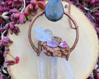 Clear Quartz Point with Rose Quartz Tumbles and Labradorite Teardrop Necklace with Copper Chain