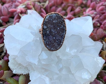Druzy Amethyst Copper Electroformed Ring—Boho Jewelry—Crystal Ring