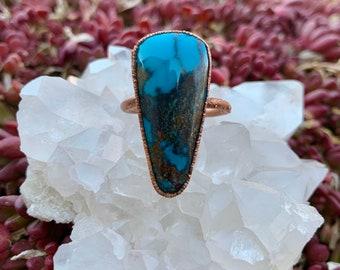 Hubei Turquoise Copper Electroformed Ring —size 11 —unisex ring