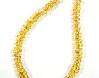 """Yellow Songea sapphire faceted drop briolette beads AAA+ 3-4.5mm 5.5"""" strand"""