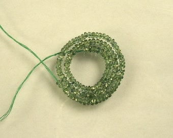 """Green Songea sapphire faceted rondelle beads AAA 2.5-3mm 8.5"""" strand"""