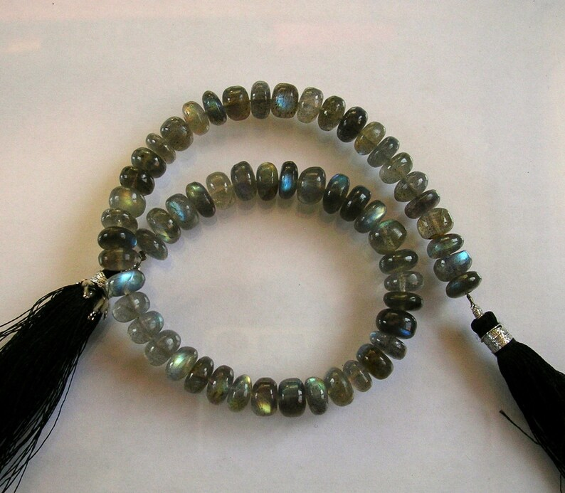 Labradorite smooth rondelle beads AAA 7.5-8mm 10.5 strand