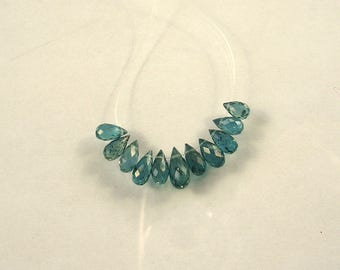 Blue green kyanite faceted drop briolette beads AAA 6-10mm 11pcs