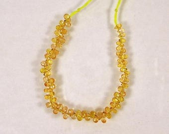 """Yellow Songea sapphire faceted drop briolette beads AAA+ 3-4mm 4"""" strand"""