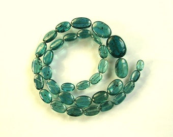 "Blue green kyanite smooth oval beads AAA 7-14mm 12.5"" strand"