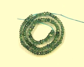 """Green Songea sapphire faceted rondelle beads AAA 2.5-3.5mm 9"""" strand"""