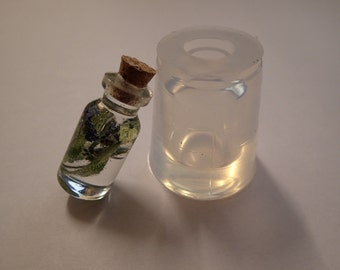 Transparent silicone Bottle mould for resin jewellery H 35 x 16 mm (~6ml)