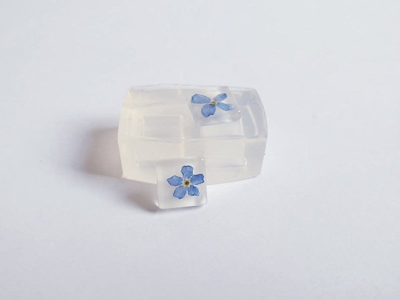 mold for resin stud earrings Flat square 10 x 10  mm  double silicone mold for resin
