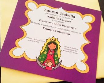 Virgencita First Communion Invitation PRINTABLE FILE invitacion de Primera Comunion y Bautizo Virgen de Guadalupe