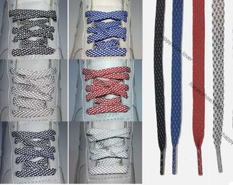 HERRINGBONE pattern 5 lengths ( 90/120/140/160/180cm) Reflective flat athletic shoe laces