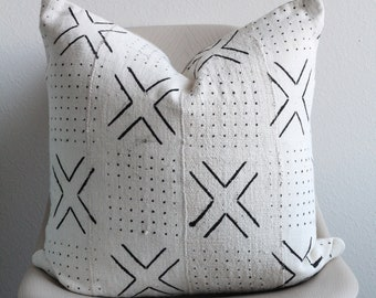 """20"""" x 20"""" African Mudcloth Pillow Cover - White X Pillow - COVER ONLY"""