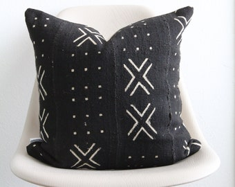 """18"""" x 18"""" African Mudcloth Pillow Cover - Black X Pillow - COVER ONLY"""