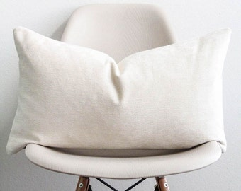 """14"""" x 24"""" Ivory Chenille Pillow Cover - Lumbar Pillow - COVER ONLY"""