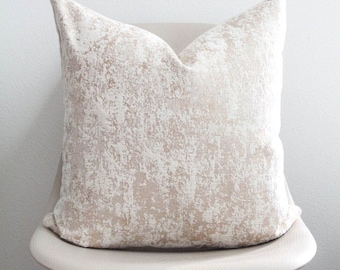 """20"""" x 20"""" Champagne Marble Pillow Cover - COVER ONLY"""