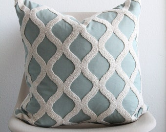 """20"""" x 20"""" Blue and White Textured Pillow Cover - Accent Pillow - COVER ONLY"""