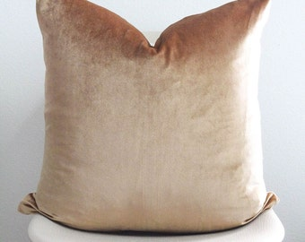 """22"""" x 22"""" Curry Gold Velvet Pillow Cover - COVER ONLY"""