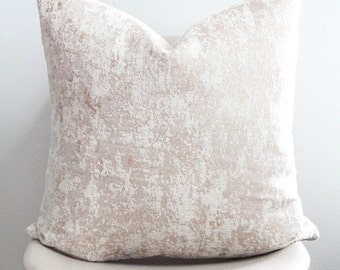 """22"""" x 22"""" Champagne Marble Pillow Cover - COVER ONLY"""