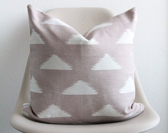"""18"""" x 18"""" Blush Triangle Print Pillow Cover - Blush Pink Pillow - Lightweight Canvas Designer Fabric - Accent Pillow - COVER ONLY"""