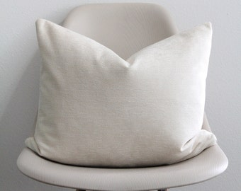 """16"""" x 20"""" Ivory Chenille Pillow Cover - Lumbar Pillow - COVER ONLY"""