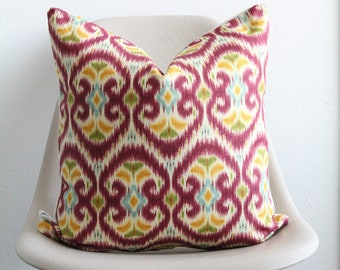 """18"""" x 18"""" Pink Multicolor Ikat Print Pillow Cover - Pink Pillow - Accent Pillow - COVER ONLY"""
